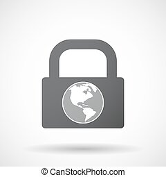Isolated lock pad icon with an America region world globe