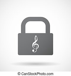 Isolated lock pad with a g clef - Illustration of an...