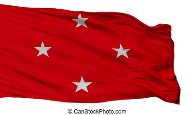 Londrina flag, city of Brasil, realistic animation isolated on white seamless loop - 10 seconds long (alpha channel is included)