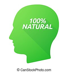Isolated long shadow male head with the text 100% NATURAL