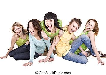 isolated., ludzie., grupa, młody