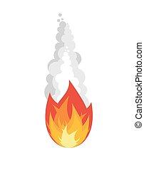 isolated., météorite, brûler, arrière-plan., astéroïde, fumée, blanc, fireball