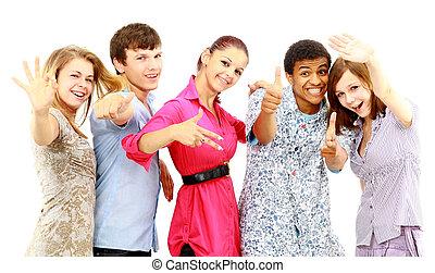 isolated., młody, ludzie., radosny, grupa