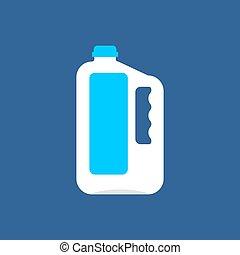 isolated., műanyag, csomagolás, vektor, palack, gallon, megfej