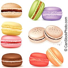 Isolated Macaroon Goods Set