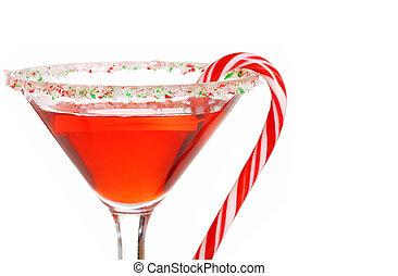 isolated macro candy cane martini shallow DOF on white background