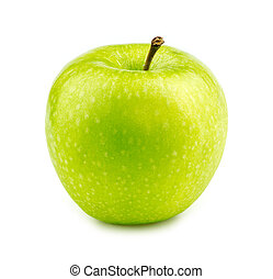 Isolated macro of a green granny smith apple