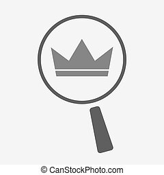 Isolated magnifier icon with a crown