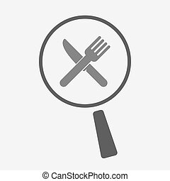Isolated magnifier icon with a knife and a fork