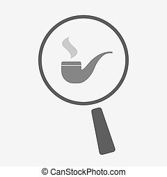 Isolated magnifier icon with a smoking pipe