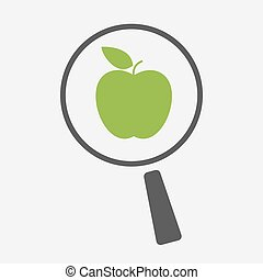 Isolated magnifier icon with an apple