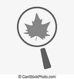 Isolated magnifier icon with an autumn leaf tree