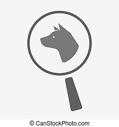 Isolated magnifier with a dog head