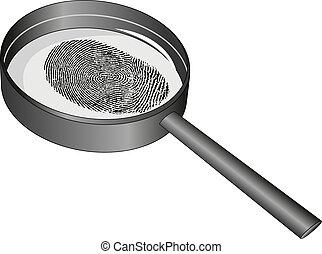 fingerprint - isolated magnifying glass and fingerprint