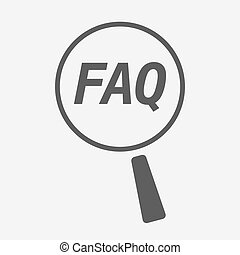 Isolated magnifying glass icon focusing the text FAQ