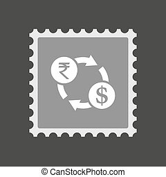Isolated mail stamp icon with a rupee and dollar exchange sign