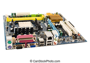 computer motherboard isolated on white background