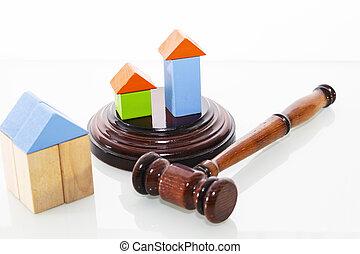 isolated., maison, marteau, arrière-plan., juge, bois, blanc