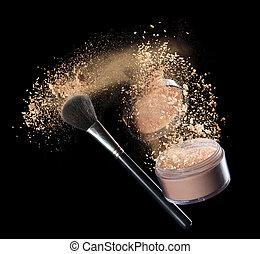 make-up powder - Isolated make-up powder with brush on black...