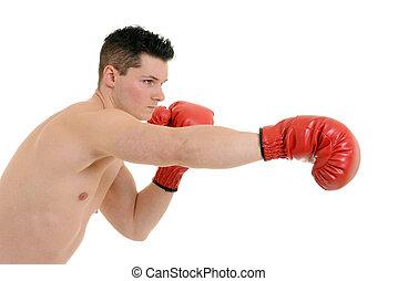 Male boxer punching