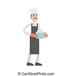 Isolated male chef.