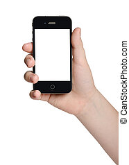 hand holding a black phone - isolated male hand holding a ...