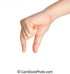 isolated male hand holding an object