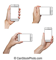 Isolated male hands holding a white phone