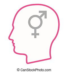 Isolated male head silhouette icon with a bigender symbol