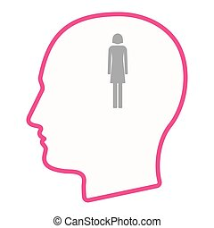 Isolated male head silhouette icon with a female pictogram