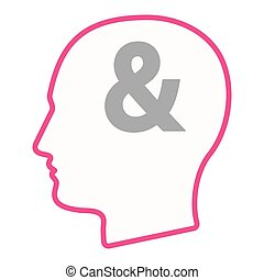 Isolated male head silhouette icon with an ampersand - ...