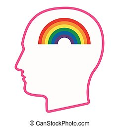 Isolated male head silhouette icon with a rainbow