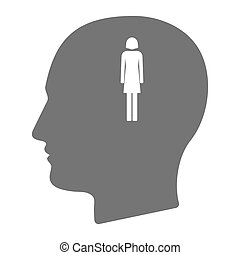 Isolated male head with a female pictogram