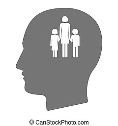 Isolated male head with a female single parent family pictogram