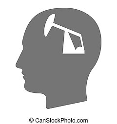 Isolated male head with a horsehead pump