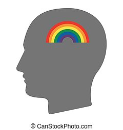 Isolated male head with a rainbow