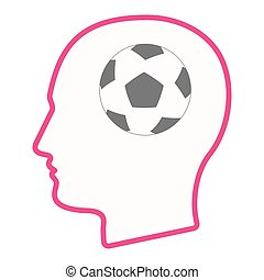 Isolated male head with  a soccer ball