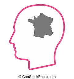 Isolated male head with  the map of France