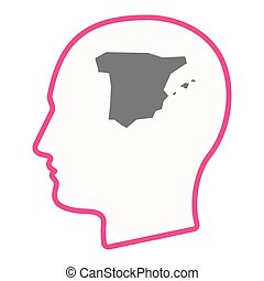 Isolated male head with  the map of  Spain