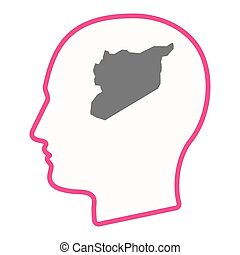 Isolated male head with  the map of Syria