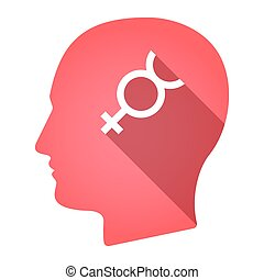 Isolated male head with the mercury planet symbol -...