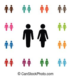 Isolated Male Icon. Woman Vector Element Can Be Used For Woman, Male, People Design Concept.