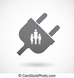 Isolated male plug with a female single parent family pictogram