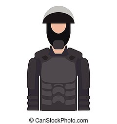 Isolated male police elite force avatar
