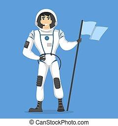 Isolated man astronaut.