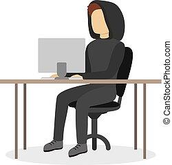 Isolated man hacker.