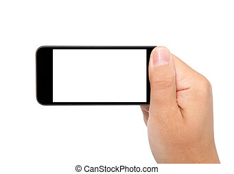 isolated man hand holding the phone