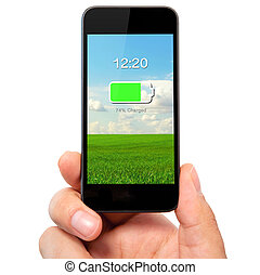 isolated man hand holding the phone with charged battery on a screen