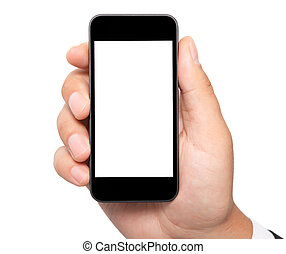isolated man hand holding the phone with isolated screen