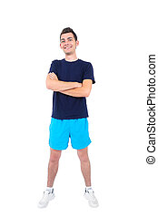 Isolated man in sport wear standing